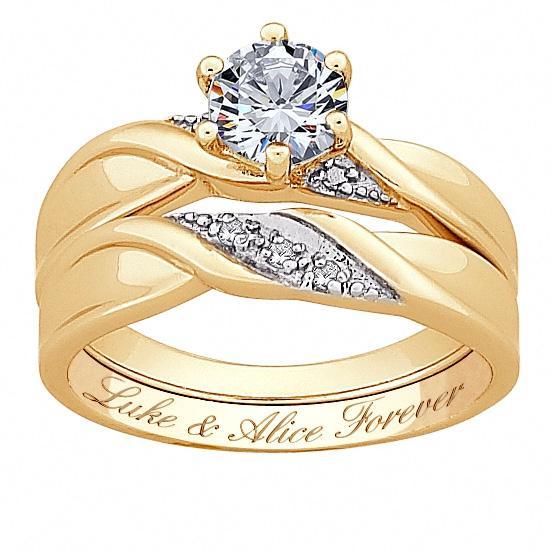 Genuine Diamond & Brilliant CZ Wedding Ring Set
