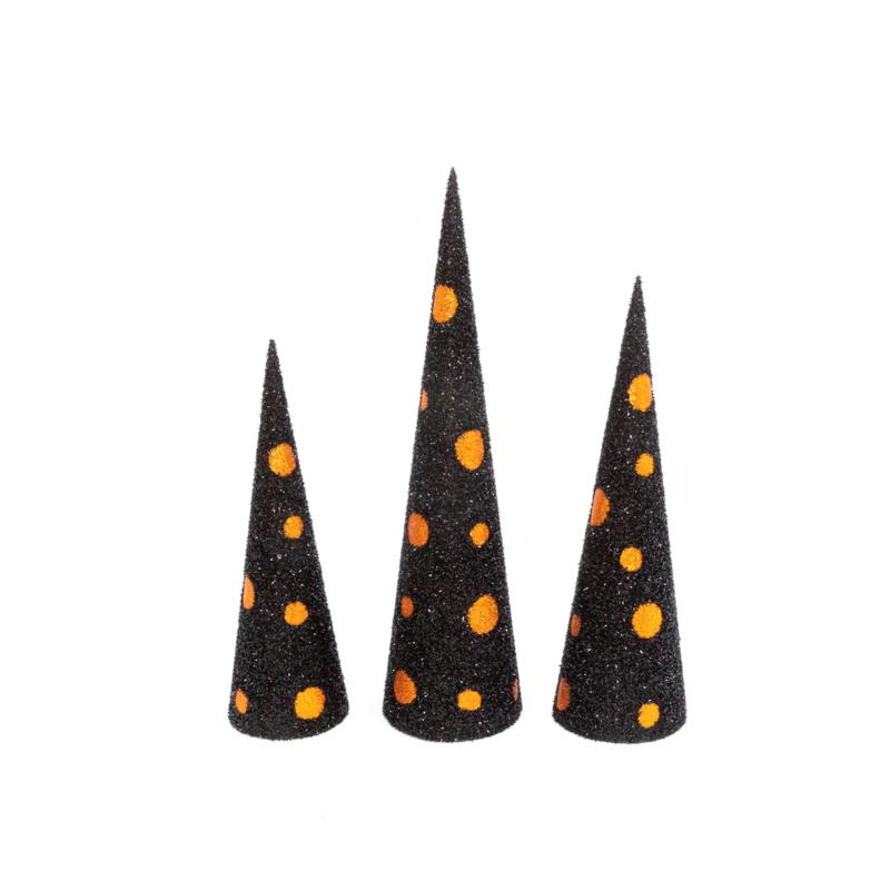Gerson Company Assorted Black & Orange Glitter Halloween Trees 3-pack