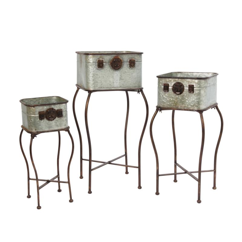 Gerson Galvanized Metal Antique-Style Plant Holders with Stands 3-pack