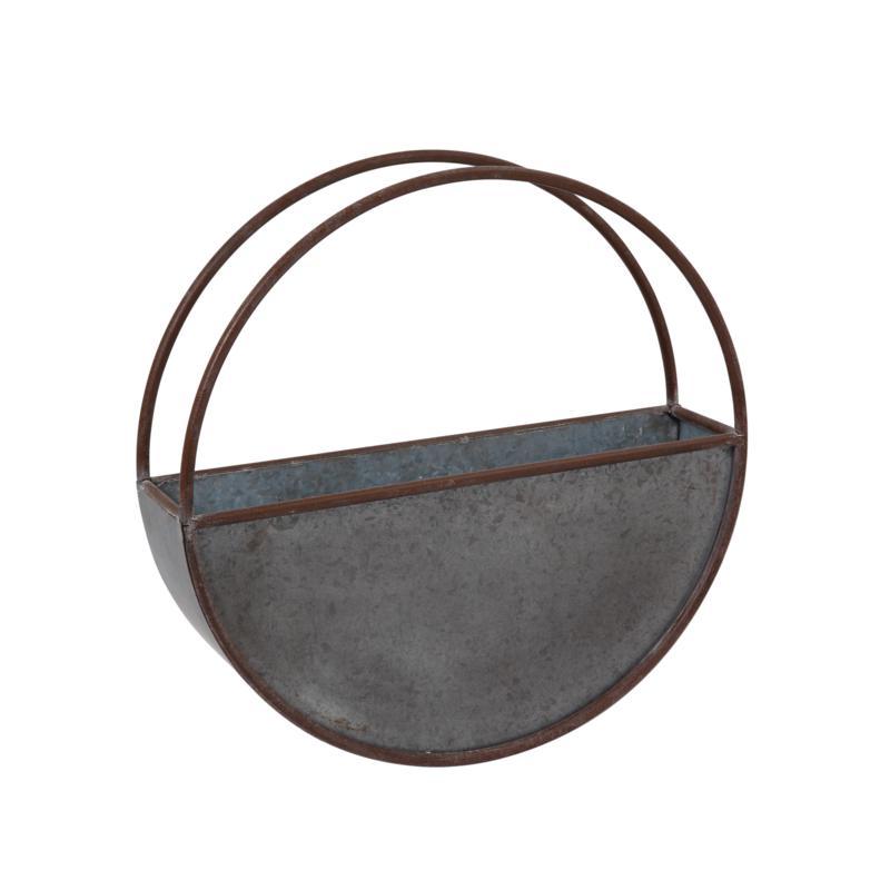 Gerson Galvanized Metal Circular Wall Planter - Silver