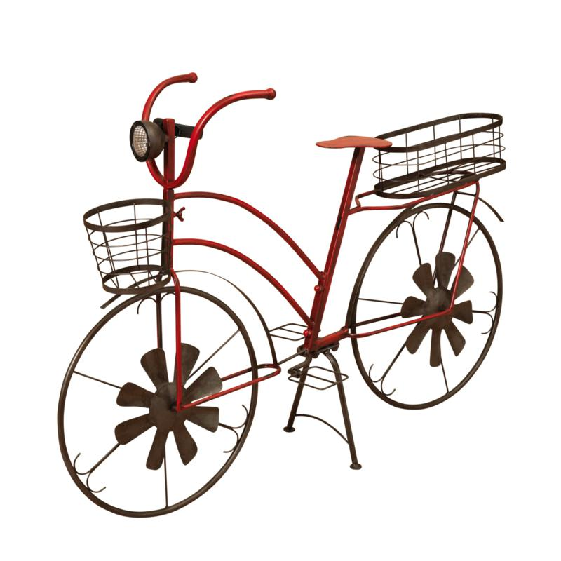 Gerson Solar-Powered Metal Bicycle Plant Stand w/Wind Spinner Spokes