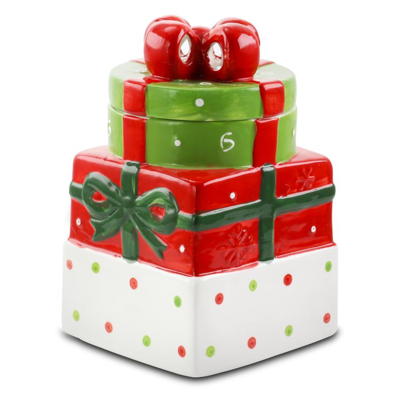 """Gibson Home Holiday Cheer 7.5"""" Gift Box Hand-Painted Cookie Jar"""