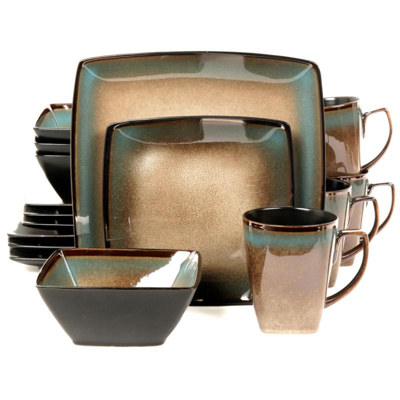 Gibson Tequesta 16-piece Square Dinnerware Set - Taupe