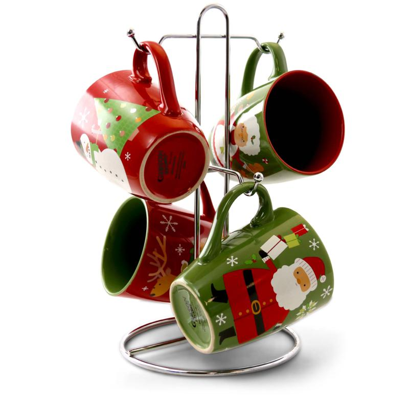Gibson True Holiday 4pc 15 oz Mugs in 4 Assorted Designs