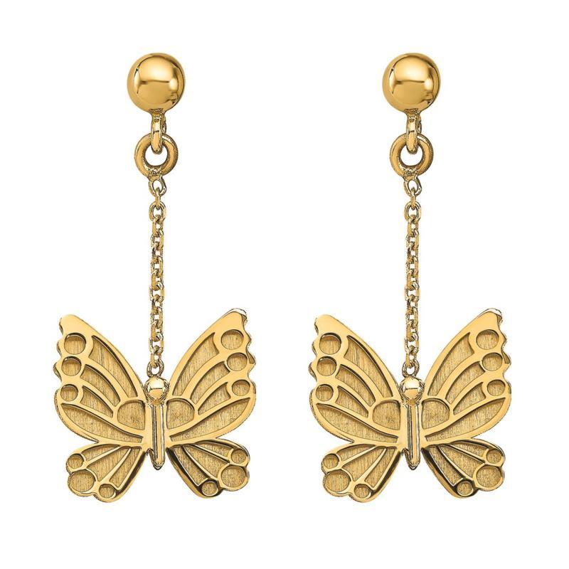 Golden Treasures 14K Butterfly Dangle Earrings