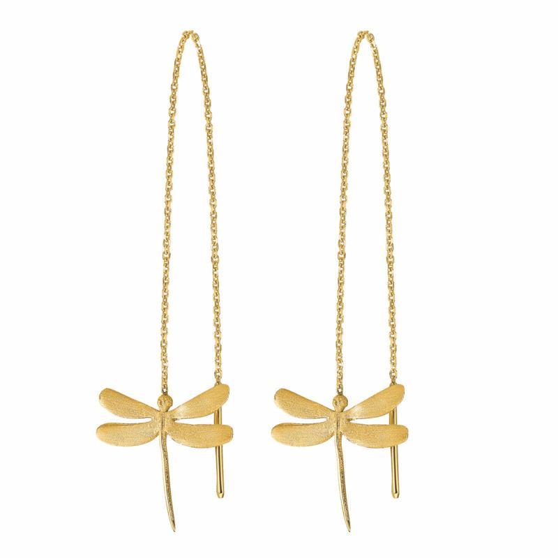 Golden Treasures 14K Dragonfly Threader Earrings