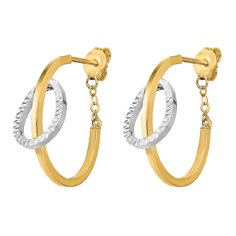 Golden Treasures 14K Gold Diamond-Cut Polished Hoop and Chain Earrings