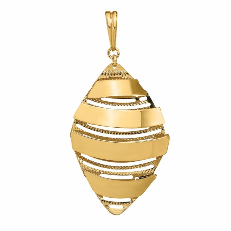 Golden Treasures 14K Gold Dimensional Drop Pendant