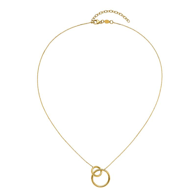 Golden Treasures 14K Gold Polished Double Rings Necklace