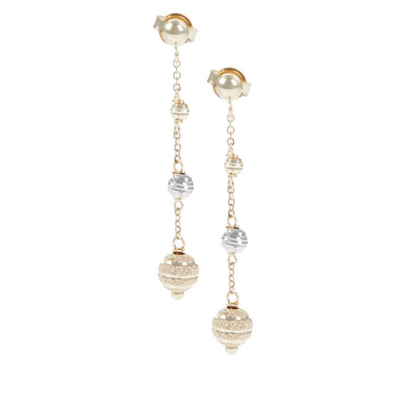 Golden Treasures 14K Italian Gold 2-Tone Beaded Dangle Earrings