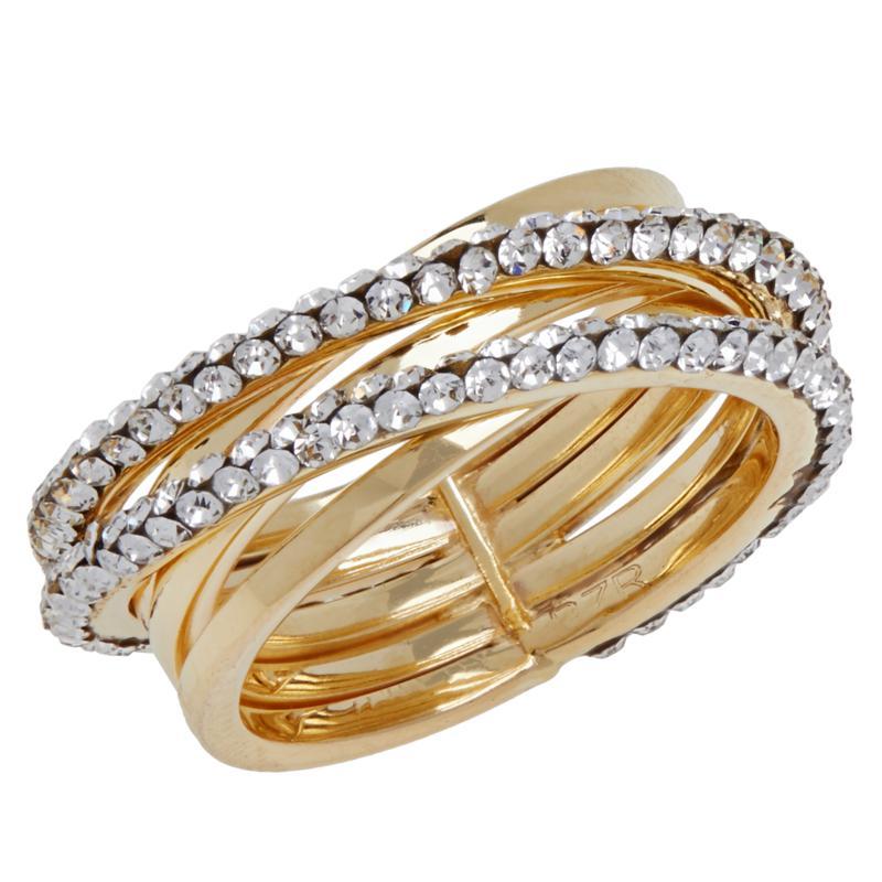 Golden Treasures 14K Italian Gold Crystal-Studded Crossover Ring