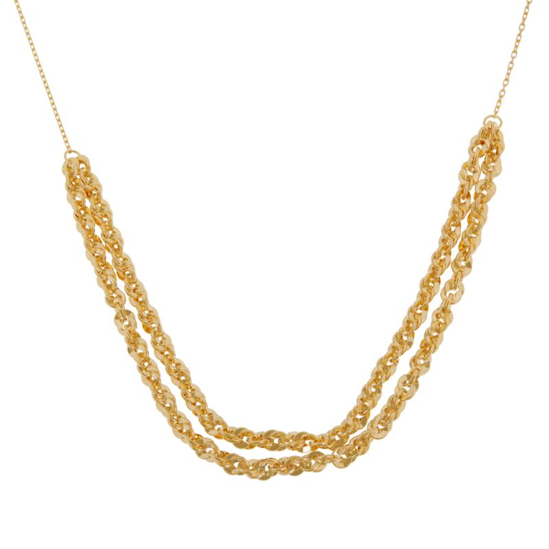 Golden Treasures 14K Italian Gold Double-Strand Fancy Necklace