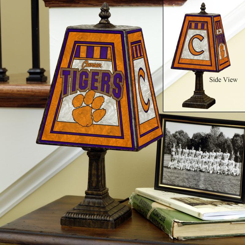 Handpainted Art Glass Team Lamp - Clemson - College