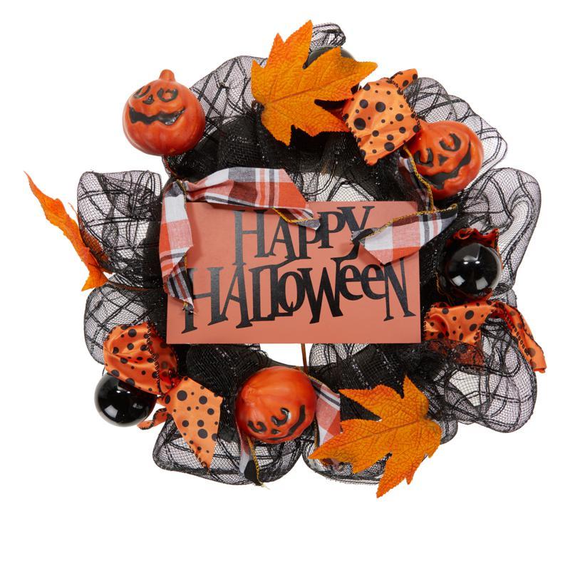 "Harvest Lane 18"" Happy Halloween Wreath - 20006777   HSN"