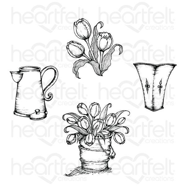 Heartfelt Creations Tulip Bouquet Cling Stamp Set