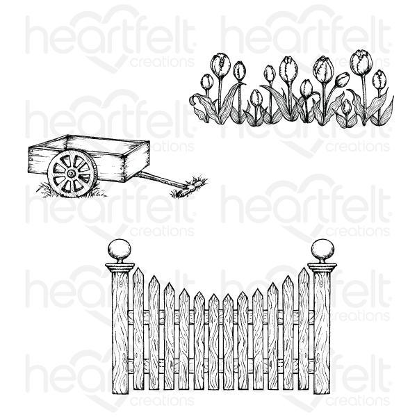Heartfelt Creations Tulip Cart & Fence Cling Stamp Set