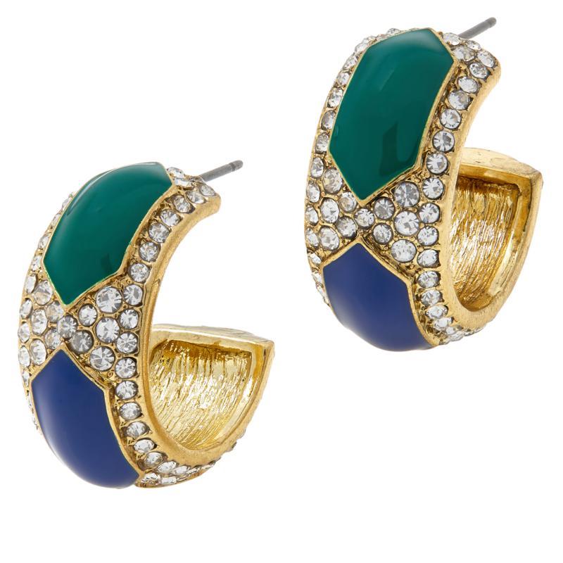 """Heidi Daus """"Divine Diamond"""" Crystal and Enamel Hoop Earrings"""