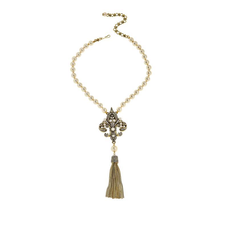 "Heidi Daus ""Fleur'd Fabulous"" Tassel Drop Necklace"