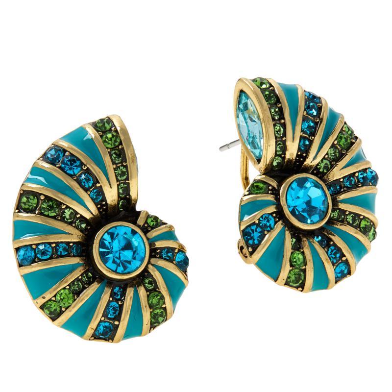 """Heidi Daus """"Ocean Blooms"""" Crystal Button Earrings"""