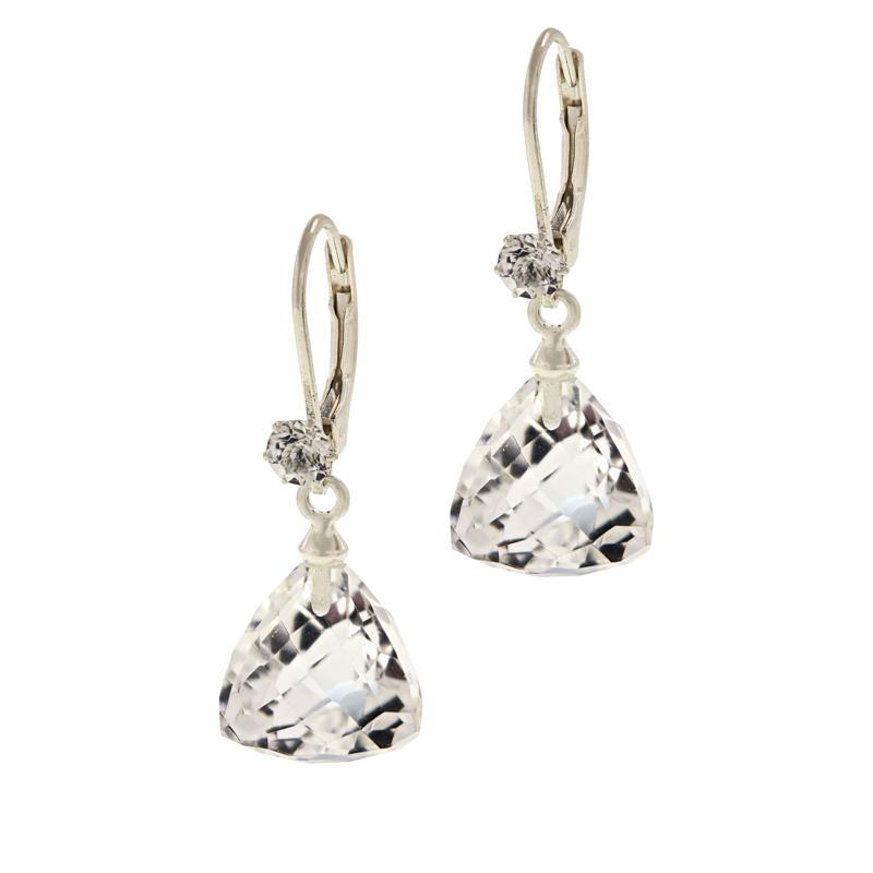 """Herkimer Mines """"Diamond"""" Quartz Fancy-Cut Faceted Drop Earrings"""