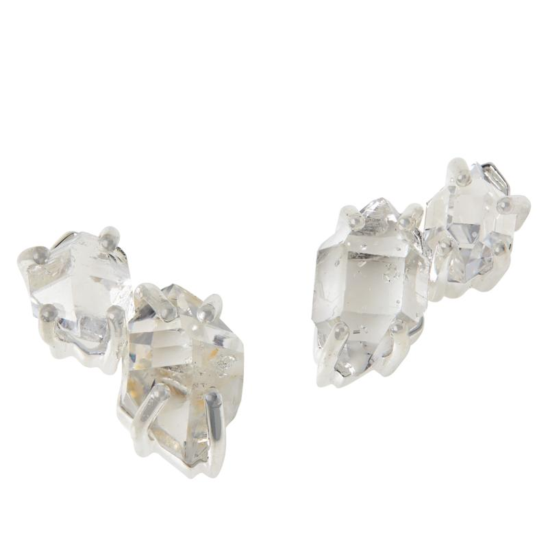"Herkimer Mines Sterling Silver ""Diamond"" Quartz Cluster Stud Earrings"