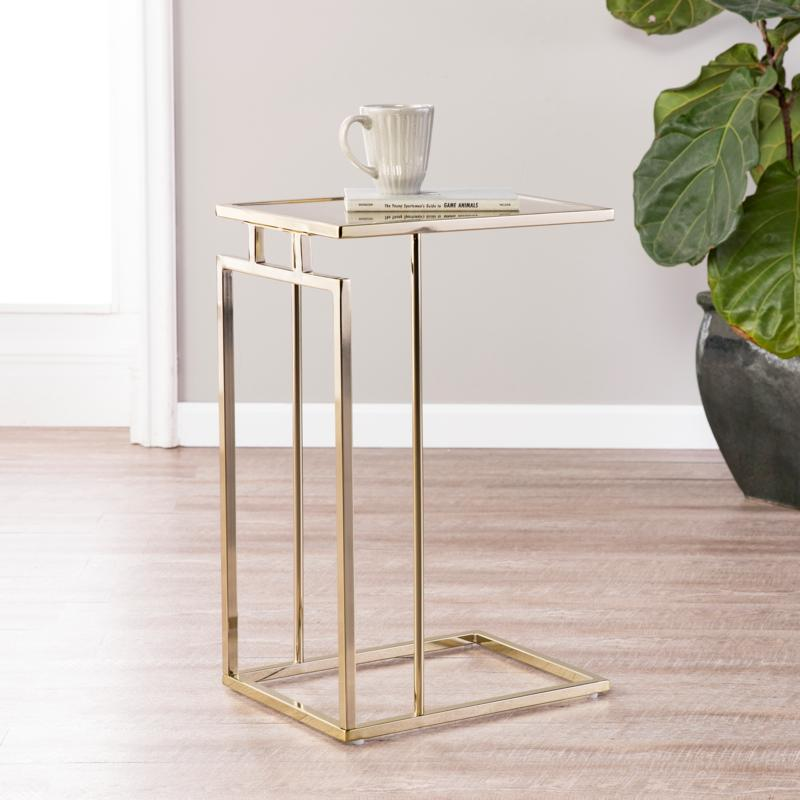 Holly & Martin Colbi C-Table - Champagne/Antique Mirror