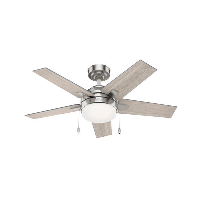"Hunter 44"" Bartlett Brushed Nickel Ceiling Fan w Light Kit & PullChain"
