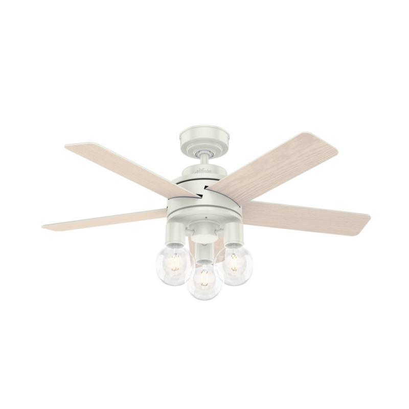 """Hunter 44"""" Hardwick White Ceiling Fan w LED Light Kit & HandheldRemote"""