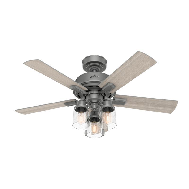 "Hunter 44"" Hartland Matte Silver LED Light & Pull Chain Ceiling Fan"