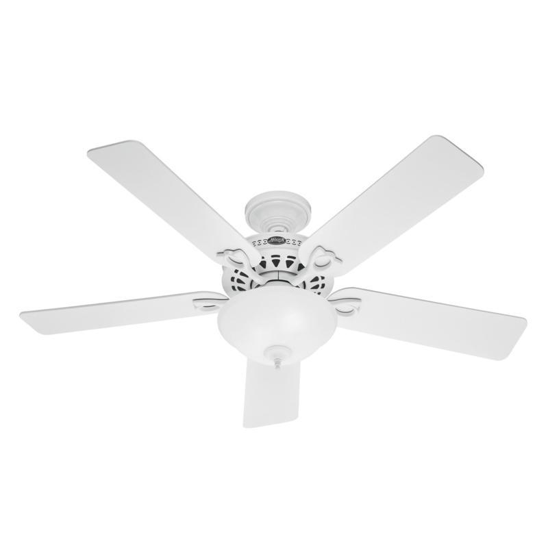 """Hunter 52"""" Astoria White Ceiling Fan w/ LED Light Kit and Pull Chain"""