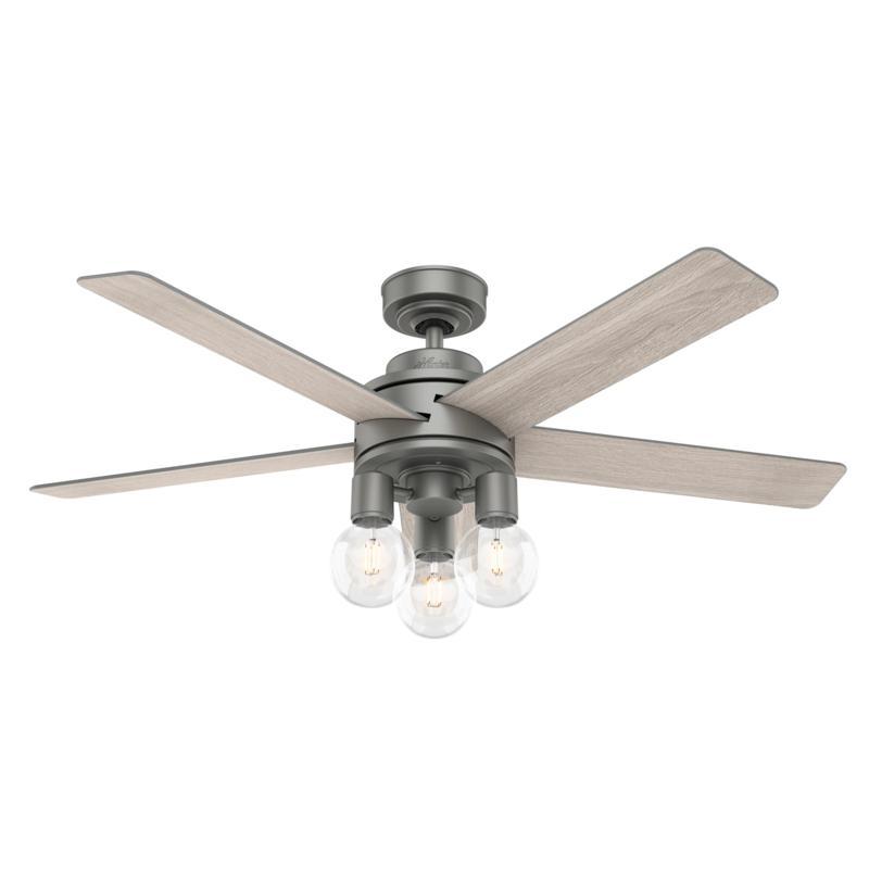 Hunter 52 Hardwick Matte Silver Ceiling Fan W Led Light Kit Remote 9705405 Hsn