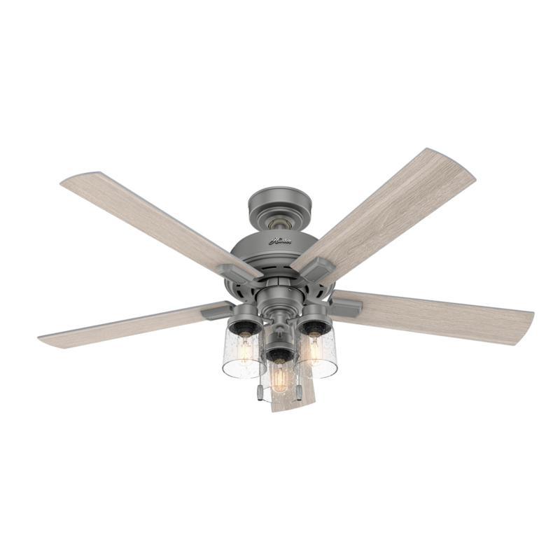 "Hunter 52"" Hartland Matte Silver LED Light & Pull Chain Ceiling Fan"