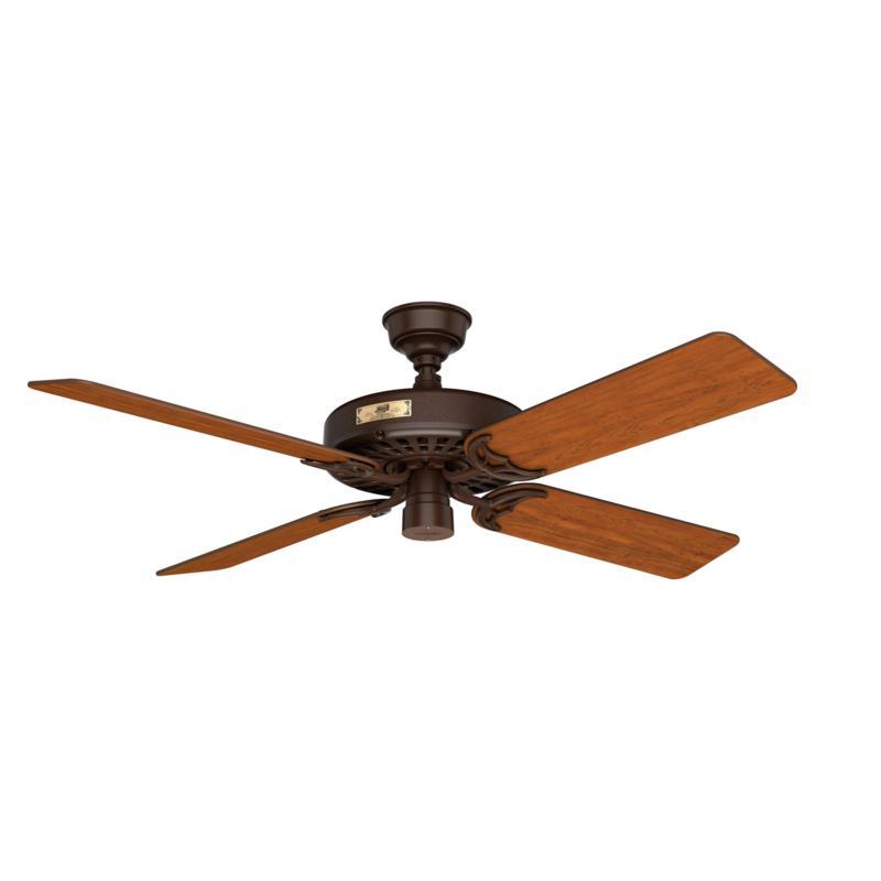 "Hunter 52"" Hunter Original Brown Ceiling Fan w Pull Chain, Damp Rated"