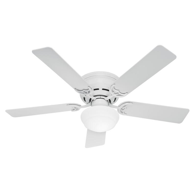 "Hunter 52"" Low Profile White LED Light & Pull Chain Ceiling Fan"
