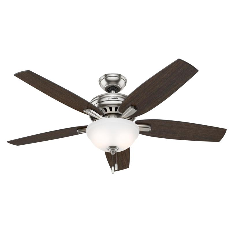 """Hunter 52"""" Newsome Nickel Ceiling Fan w LED Light Kit and Pull Chain"""