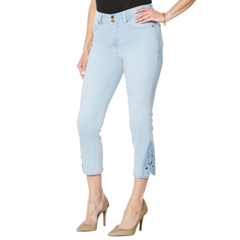 IMAN City Chic 360 Slim Crop Jean with Crochet Lace Detail
