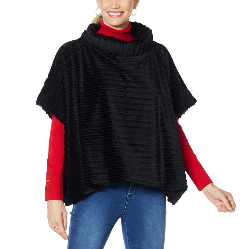 IMAN Global Chic Textured Faux Fur Cowl-Neck Poncho Cape