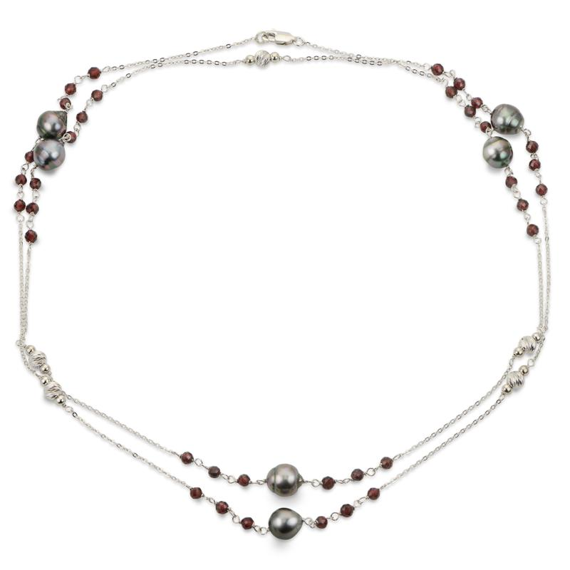 """Imperial Pearls 38"""" Cultured Tahitian Pearl & Garnet Station Necklace"""