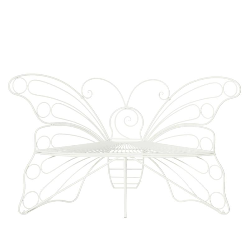 Improvements Wrought Iron Monarch Butterfly Bench