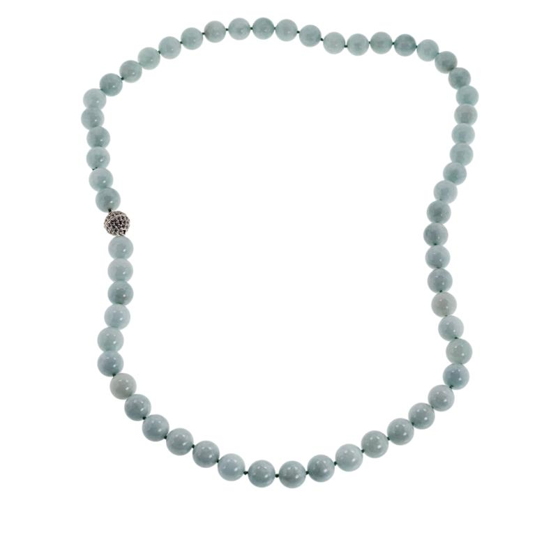 """Jade of Yesteryear 30"""" Sterling Silver Pavé Clasp Beaded Necklace"""