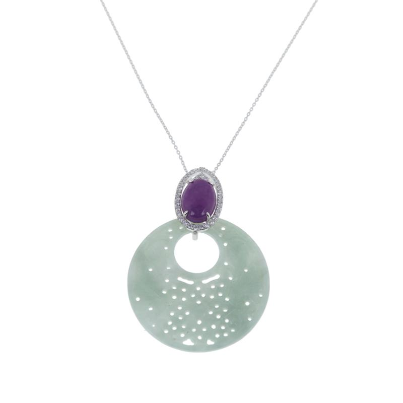Jade of Yesteryear Green and Purple Jade and CZ Disc Pendant
