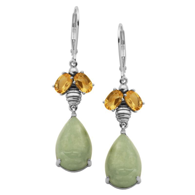 Jade of Yesteryear Green Jade and Citrine Drop Earrings