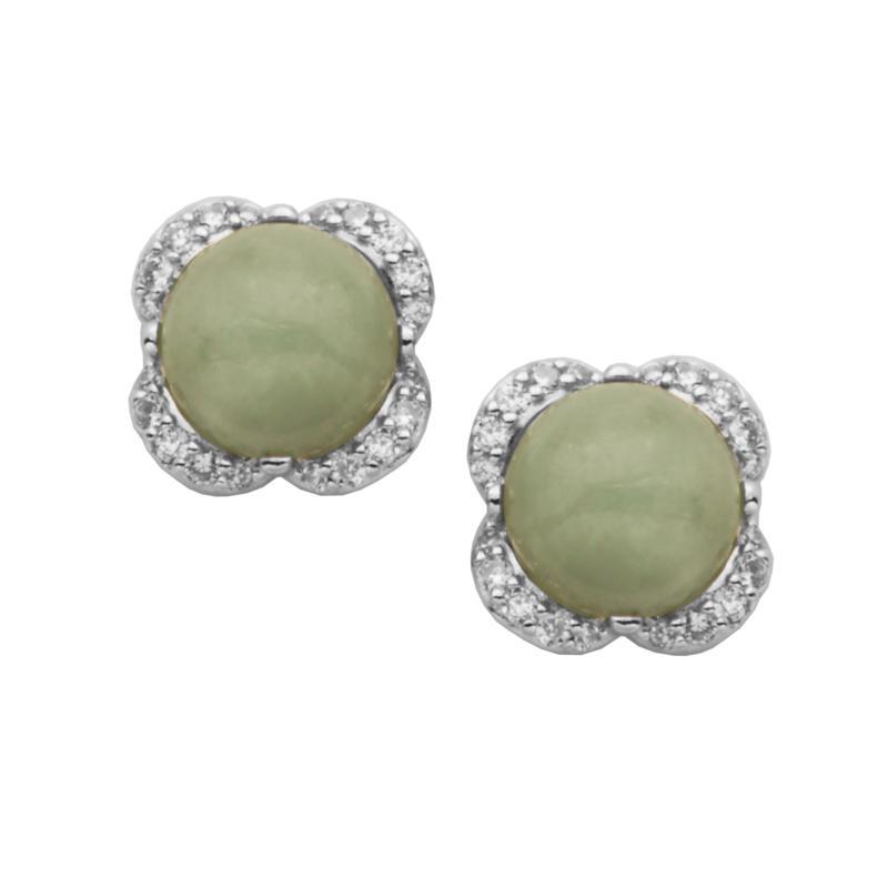 Jade of Yesteryear Green Jade and Cubic Zirconia Floral Stud Earrings