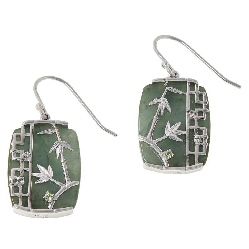 Jade of Yesteryear Jade and Gemstone Bamboo Drop Earrings