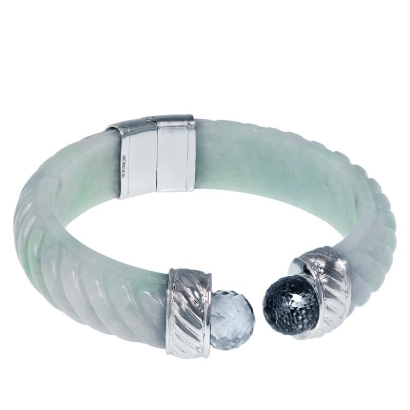 Jade of Yesteryear Jadeite and Gemstone Hinged Cuff Bracelet