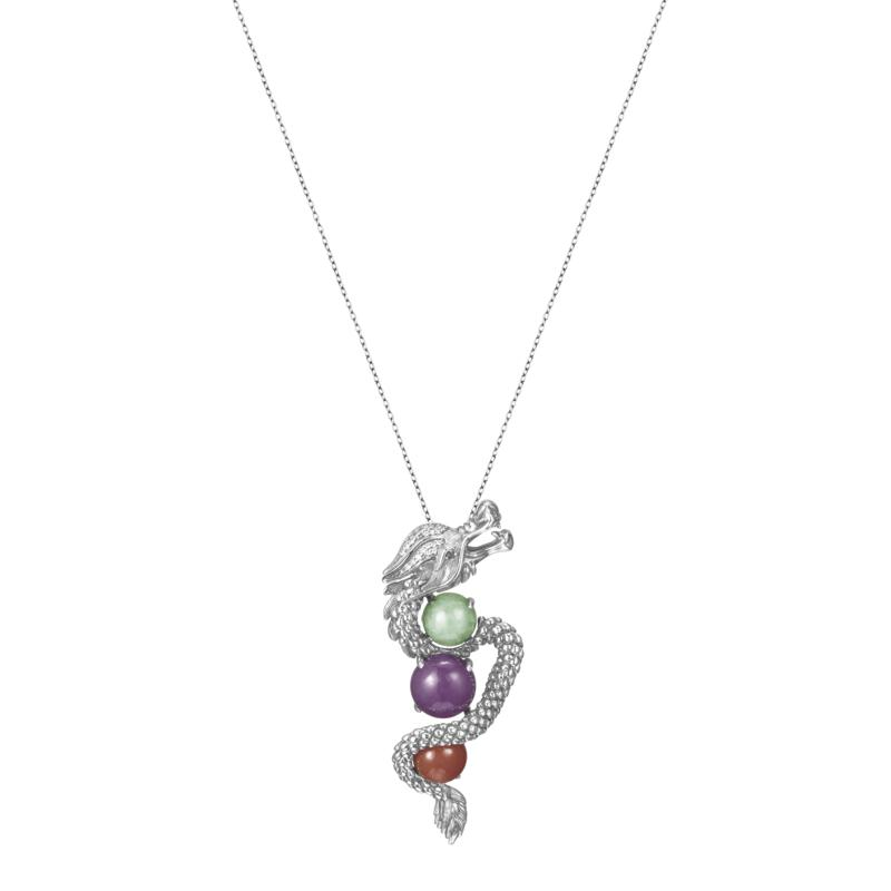 Jade of Yesteryear Multicolor Jade Dragon Pendant with Chain