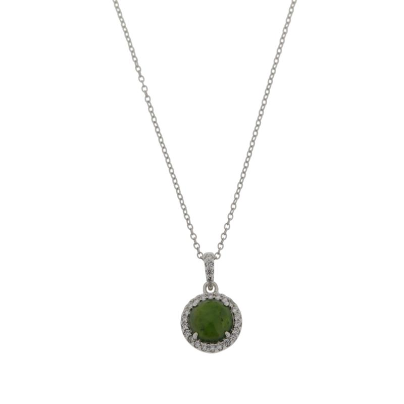 Jade of Yesteryear Round Jade and Cubic Zirconia Pendant with Chain