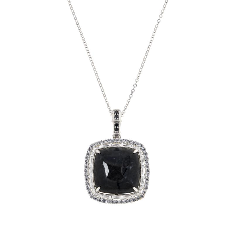 Jade of Yesteryear Square Jade and Cubic Zirconia Pendant with Chain