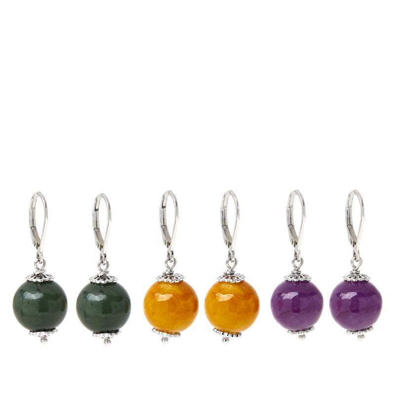 Jade of Yesteryear Sterling Silver Bead Drop Earrings Set of 3 Pairs