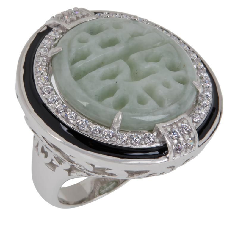 Jade of Yesteryear Sterling Silver Carved Jade and CZ Enamel Deco Ring